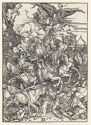 The Four Horsemen of the Apocalypse, Albrecht Dürer (1471–1528, Germany), woodcut, c.1497–98