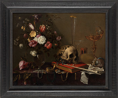 Vanitas, Still life with a bouquet and skull, Adriaen van Utrecht (1599–1652, Belgium) oil on canvas 1643